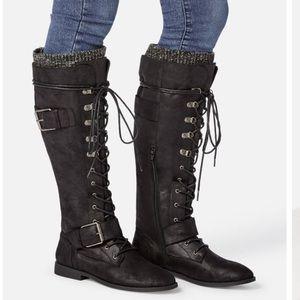 Svana Lace-up Tall Boot Size: 8.5 Black JustFab